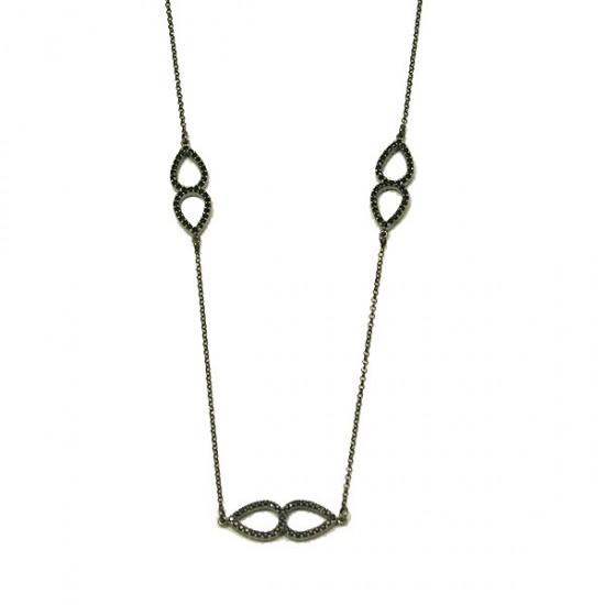 Κολιέ ασημένιο χειροποίητο με μαύρη πλατίνα διπλοκαρφωμένος και στις δύο όψεις με μαύρα σπίνελ Μήκος καδένας 40-45cm