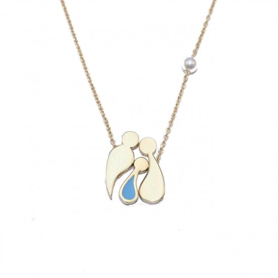 Silver necklace family gold-plated pearl and enamel item