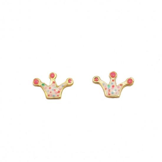 Gold baby earrings 14K with enamel