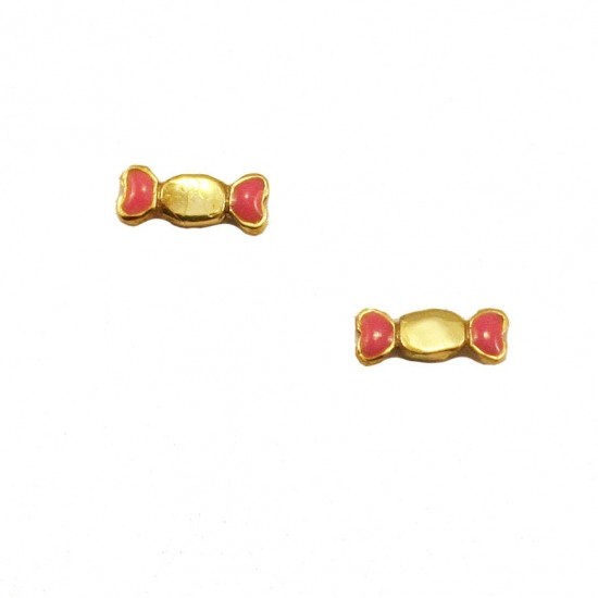Children's earrings 14K gold with candy design with red enamel