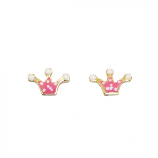 Children's gold earrings 14k with enamel item