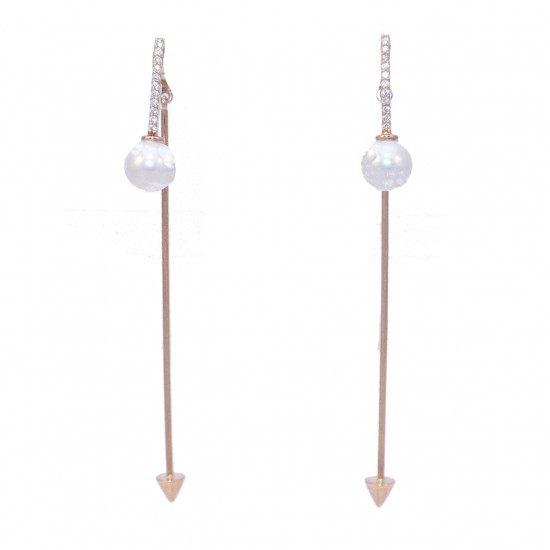 Rose gold earrings K14 with white zircons and pearls