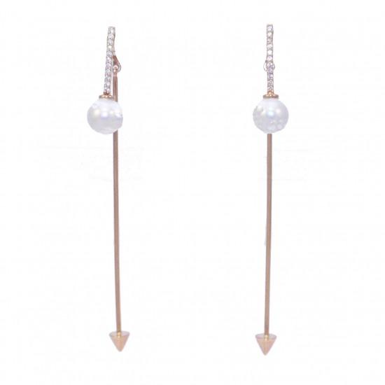 Σκουλαρίκια ροζ χρυσός Κ14 με λευκά ζιργκόν και μαργαριτάρια