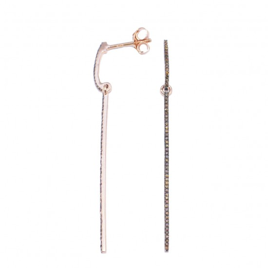 Rose Gold earrings K14 and brown diamonds 0.17ct