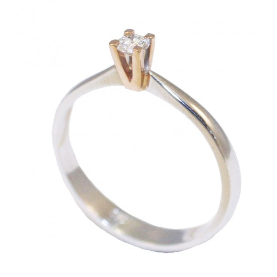 Gold wedding ring K18 double color white-rose and round brilliant cut natural diamond