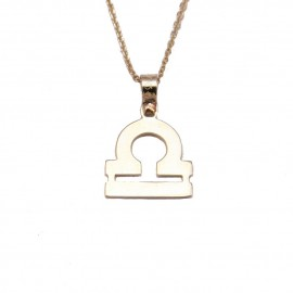 Necklace gold K9 zodiac Libra with chain of 40-45cm