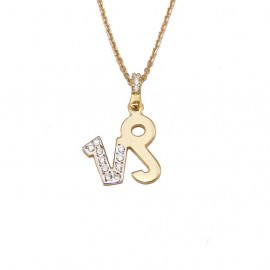Necklace gold K14 zodiac sign Capricorn with white zircon and chain