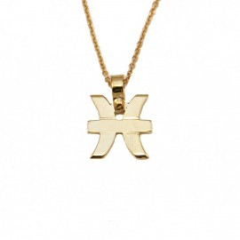 Necklace gold K9 zodiac sign Pisces with chain