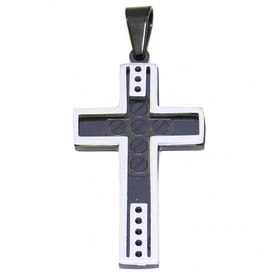 Stainless steel men cross double colour