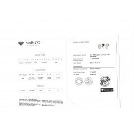 Σκουλαρίκια λευκόχρυσα Κ18 συνολικού βάρους 2,10gr με 14 διαμάντια κοπής μπριγιάν carat weight 0.06ct / 0.26ct χρώματος F καθαρό