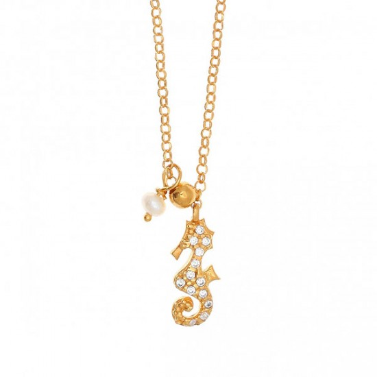 Silver necklace goldplated white zircons and pearl Chain lenght 40cm-45cm