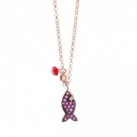 Silver necklace with fish design rose gold plated red zircon and black platinum Chain length 40-45cm