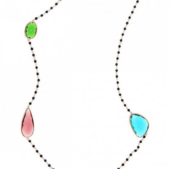 Silver necklace pink goldplated colourfull synthetic stones and onyx Chain lenght 90cm-95cm