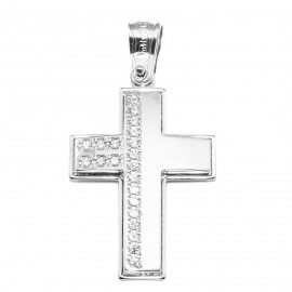 Cross platinum K14 with white zircon matte and lacquered for baptism or for engagement