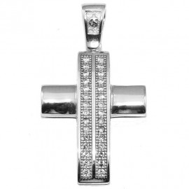 Cross platinum K14 with white zircons for baptism or engagement