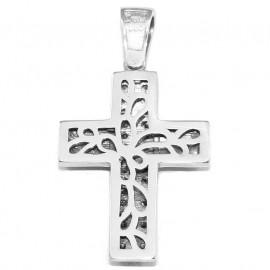 Σταυρός λευκόχρυσος K14 με λευκά ζιργκόν με σχέδιο στις δύο πλευρές για βάπτιση ή για αρραβώνα