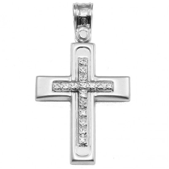 Cross platinum K14 with white zircon for baptism or engagement