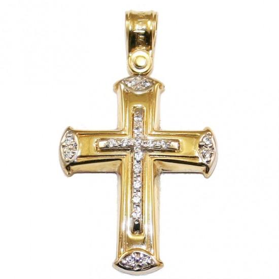 Σταυρός χρυσός Κ14 δίχρωμος με λευκά ζιργκόν για βάπτιση ή για αρραβώνα