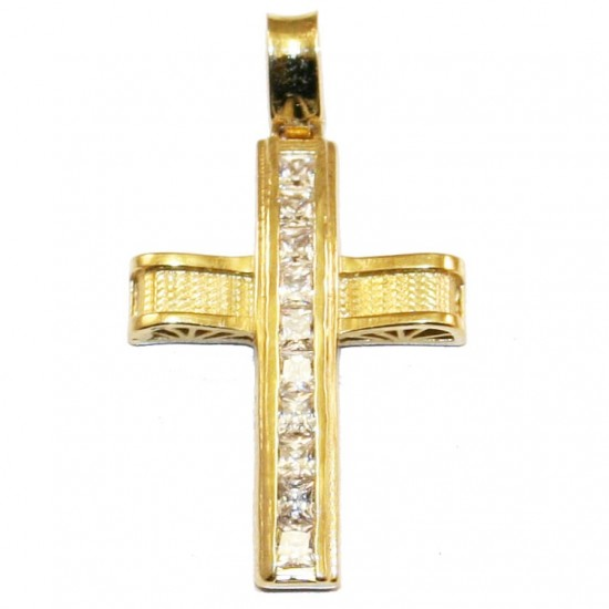 Σταυρός χρυσός Κ14 με σχέδιο στις δύο πλευρές με λευκά ζιργκόν για βάπτιση ή για αρραβώνα