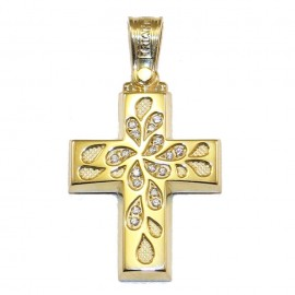 Cross gold Κ14 with white zircon and carving with floral pattern for baptism or engagement