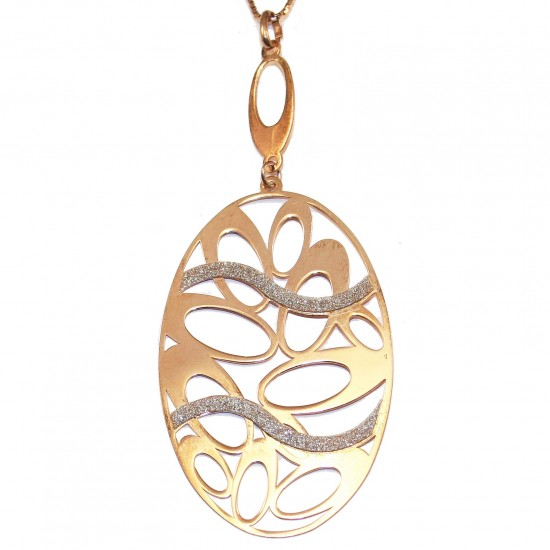 Sterling silver rose gold plated necklace with diamond cut technology