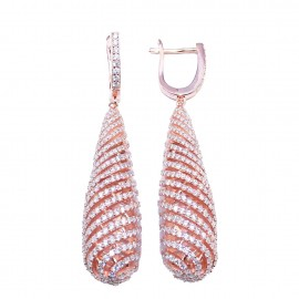 Silver earrings in drop design with rose gilt white zircon and gold clasp