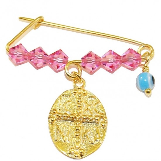 Children's nannies silver gold plated with double face print and colorful quartz for baptism