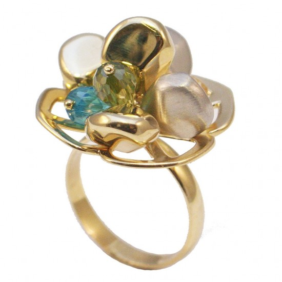 Gold ring K14 vintage double-color with white-gold and synthetic stones No 54