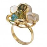 Δαχτυλίδι χρυσό Κ14 vintage δίχρωμο με λευκόχρυσο 8989