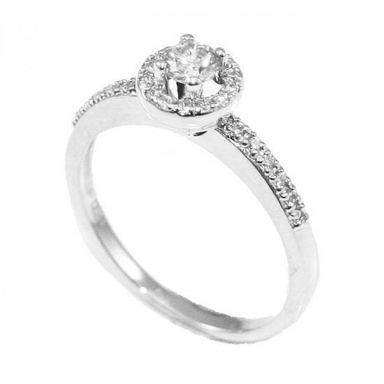 Δαχτυλίδι μονόπετρο λευκόχρυσο Κ18 συνολικού βάρους 2,7gr με διαμάντια στο πλάι Σύνολο διαμαντιών 27 με βάρος 0,24ct / 0,13ct χ