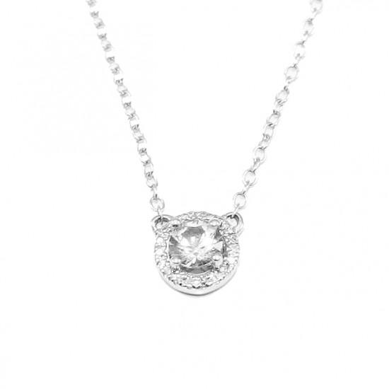 Κολιέ λευκόχρυσο Κ14 με φυσικό λευκό ζαφείρι 0,31ct και 19 φυσικά διαμάντια 0,03ct Μήκος καδένας 40-45cm