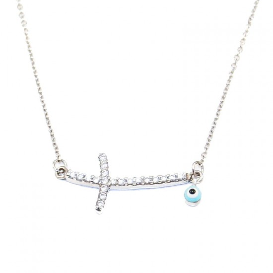 White gold women necklace K9 with white zircons