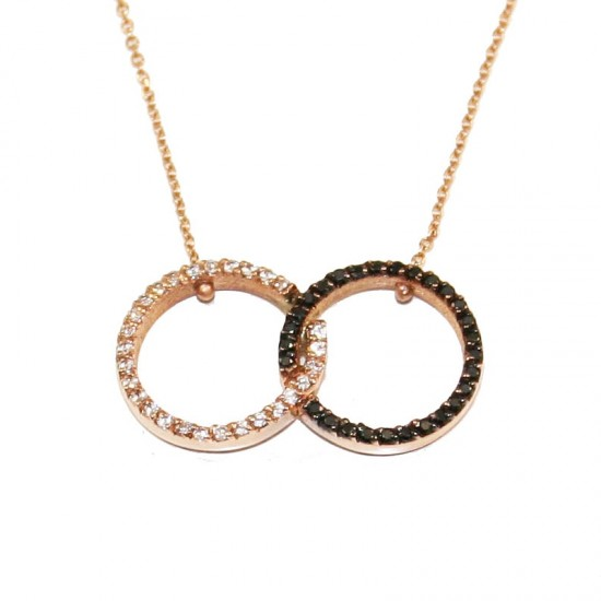 Rose gold necklace K14 with white and black zircon Lace length 40-45cm