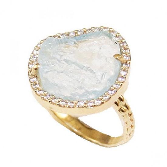 Δαχτυλίδι χρυσό Κ14 Aquamarine και λευκά ζιργκόν