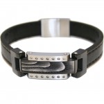 Stainless steel men handcuff with leather strap HBS9523