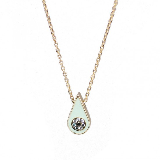 Gold necklace K9 eye with enamel and zircon Chain length 40-45cm