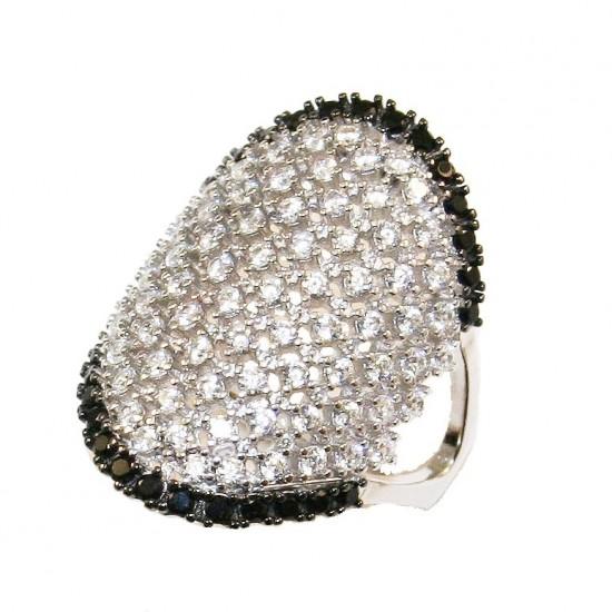 Δαχτυλίδι ασημένιο επιπλατινωμένο και σχέδιο με λευκά και μαύρα ζιργκόν