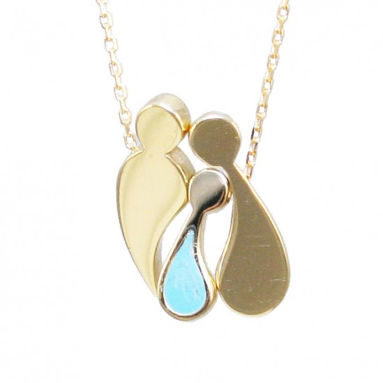 Necklace gold K9 family with boy with enamel and chain length 40-45cm