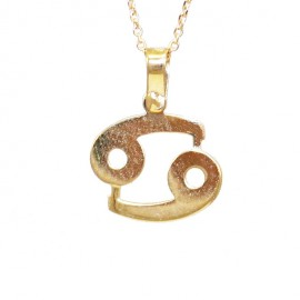 Gold necklace K9 zodiac Cancer with chain 40-45cm