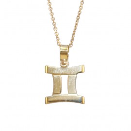 Gold necklace K9 zodiac twins with chain 40-45cm