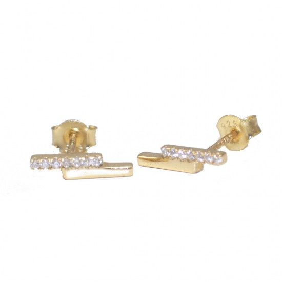 Silver earrings gold-plated and white zircons