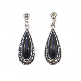 Silver earrings vintage with onyx stone and black platinum
