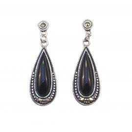 Σκουλαρίκια ασημένια vintage με όνυχα πέτρα και μαύρη πλατίνα
