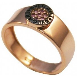 Rose gold ring K14 with black platinum and amethyst color zircon No 52