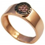Δαχτυλίδι ροζ χρυσό Κ14 με μαύρη πλατίνα R0340