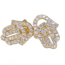 Silver earrings with gold plated and white zircon the hand of good luck