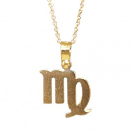 Necklace gold K9 zodiac virgo with chain 40-45cm