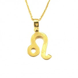 Gold necklace K9 zodiac Leon with chain length 40-45cm