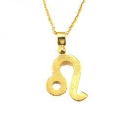 Κολιέ χρυσό Κ9 ζώδιο Λέων με καδένα 40-45cm