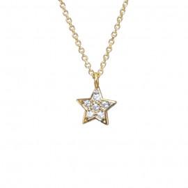 Κολιέ χρυσό Κ9 το αστέρι και λευκά ζιργκόν Μήκος καδένας 40cm